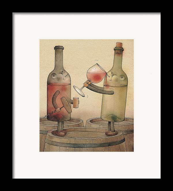 Wine Cellar Red White Framed Print featuring the painting Pinot Noir And Chardonnay by Kestutis Kasparavicius