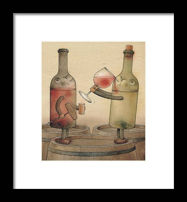 Wine Cellar Red White Party Redwine Whitewine Invitation Framed Print featuring the painting Pinot Noir and Chardonnay by Kestutis Kasparavicius