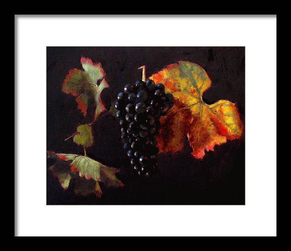 Wine Still Life Framed Print featuring the painting Pinot Noir Grape With Autumn Leaves by Takayuki Harada