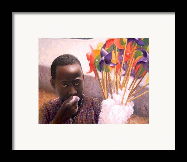 Realism Framed Print featuring the painting Pinwheels by Donelli DiMaria