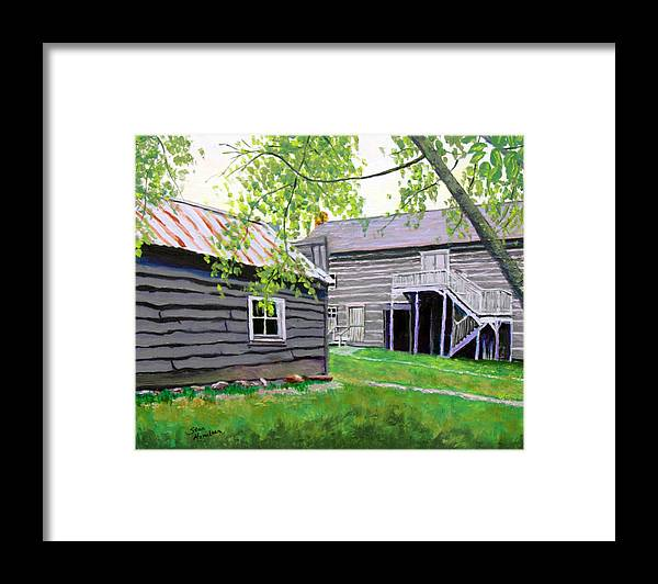 Log Cabin Framed Print featuring the painting Pioneer Village One by Stan Hamilton