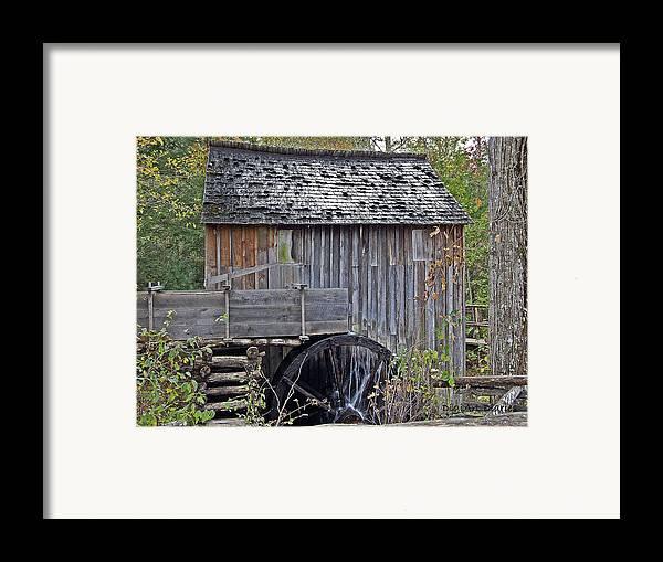 Pioneer Framed Print featuring the digital art Pioneer Water Mill by DigiArt Diaries by Vicky B Fuller