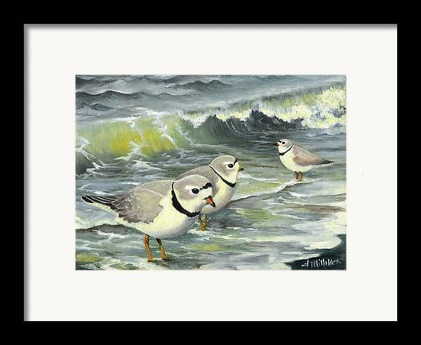 Piping Plovers Framed Print featuring the painting Piping Plovers At The Shore by Tara Milliken