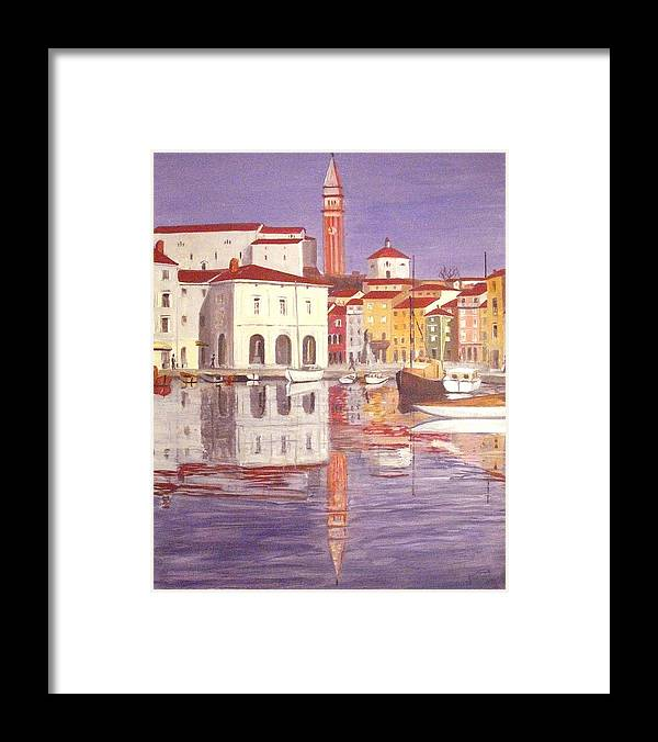 Haus Framed Print featuring the painting Piran by Anthony Meton