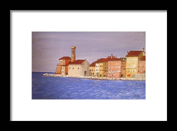 Lighthouse Framed Print featuring the painting Piran The Lighthouse by Anthony Meton