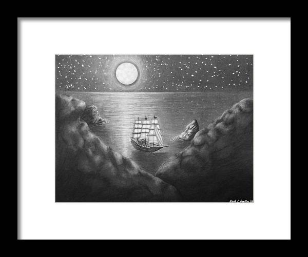 Ship Framed Print featuring the drawing Pirates' Cove by Nicole I Hamilton