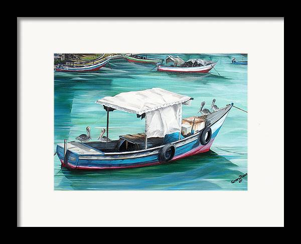 Fishing Boat Painting Seascape Ocean Painting Pelican Painting Boat Painting Caribbean Painting Pirogue Oil Fishing Boat Trinidad And Tobago Framed Print featuring the painting Pirogue Fishing Boat by Karin Dawn Kelshall- Best