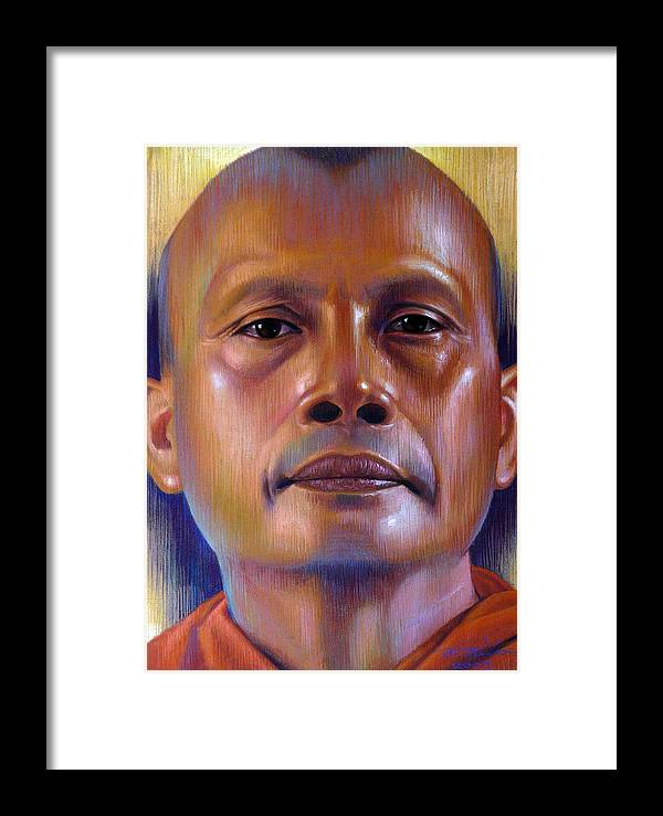Monk Framed Print featuring the painting Pisal Dhama Phatee by Chonkhet Phanwichien