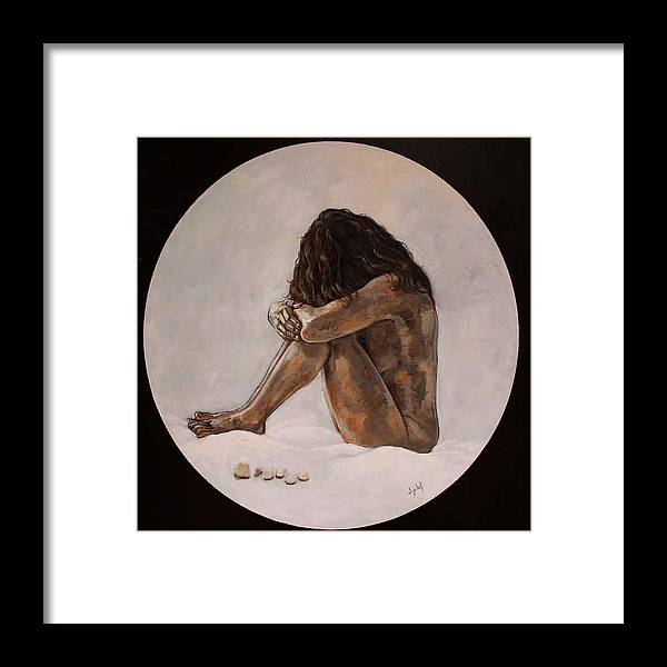Woman Framed Print featuring the painting Pismo by Ixchel Amor
