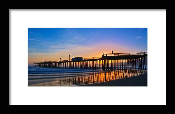 Nature Framed Print featuring the photograph Pismo Beach and Pier Sunset by Zayne Diamond Photographic