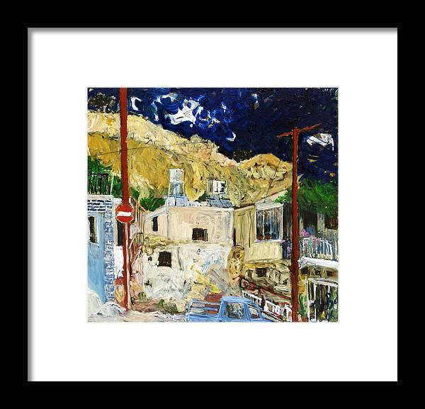 Village Houses Traffic Sign Telephone Cables Van Mountain Dark Sky Framed Print featuring the painting Pissouri Village by Joan De Bot