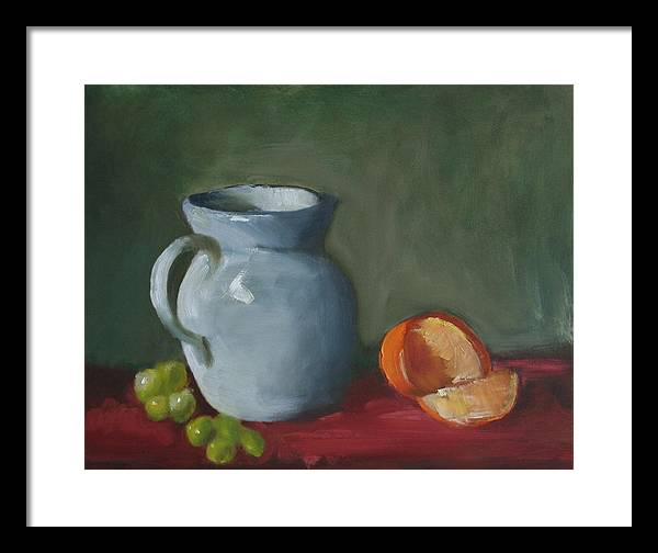 Still Life Framed Print featuring the painting Pitcher With Fruit by Rf Hauver