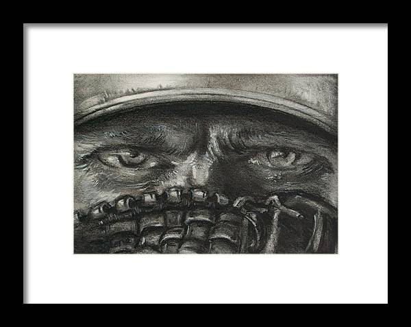 Baseball Framed Print featuring the drawing Pitchers Eyes by Tom Forgione