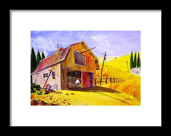 Lanscape Framed Print featuring the painting Pitching Hay by Buster Dight