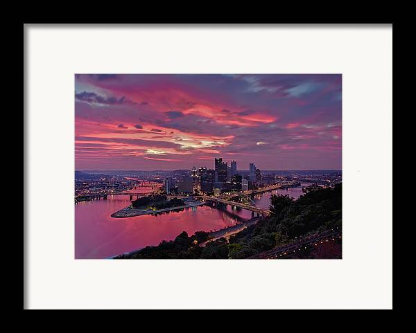 Pittsburgh Framed Print featuring the photograph Pittsburgh Dawn by Jennifer Grover