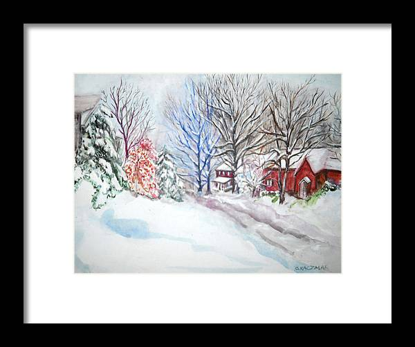 Snow Framed Print featuring the painting Pittsburgh by Olga Kaczmar