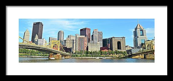Pittsburgh Framed Print featuring the photograph Pittsburgh Panorama June 2017 by Frozen in Time Fine Art Photography