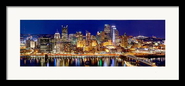 Pittsburgh Skyline At Night Framed Print featuring the photograph Pittsburgh Pennsylvania Skyline At Night Panorama by Jon Holiday