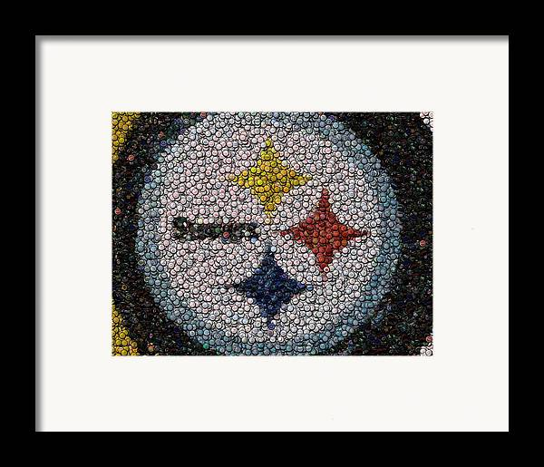 Pittsburg Framed Print featuring the digital art Pittsburgh Steelers Bottle Cap Mosaic by Paul Van Scott