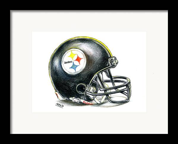 Pittsburgh Framed Print featuring the drawing Pittsburgh Steelers Helmet by James Sayer