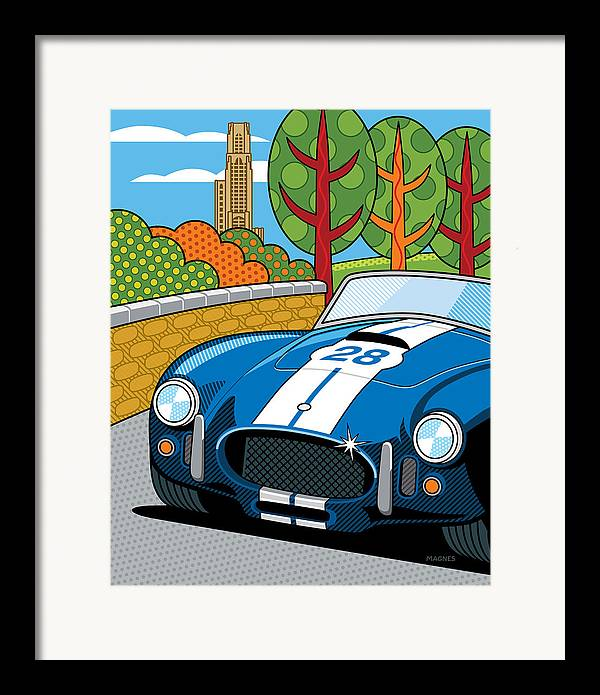 Graphic Framed Print featuring the digital art Pittsburgh Vintage Grand Prix by Ron Magnes