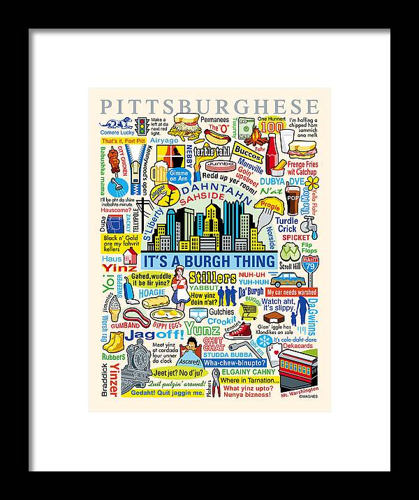 Pittsburgh Framed Print featuring the digital art Pittsburghese by Ron Magnes