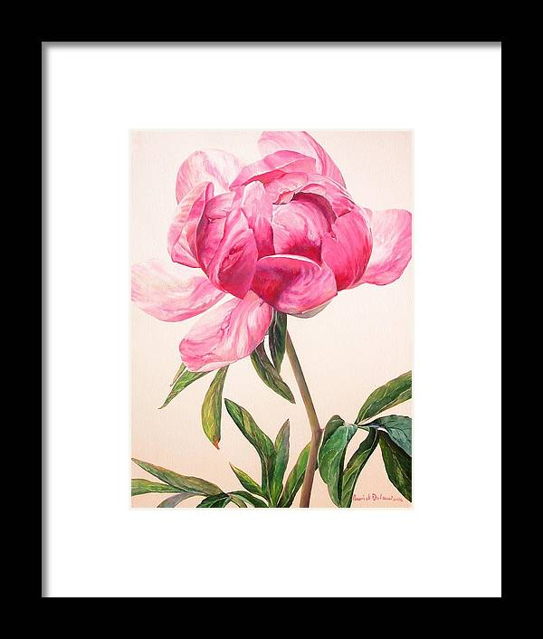 Floral Painting Framed Print featuring the painting Pivoine 1 by Muriel Dolemieux