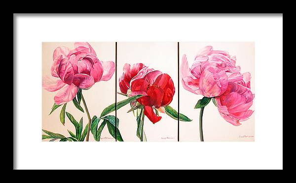Floral Painting Framed Print featuring the painting Pivoines by Muriel Dolemieux