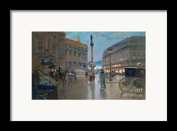 Place De L'opera Framed Print featuring the painting Place De L Opera In Paris by Georges Stein