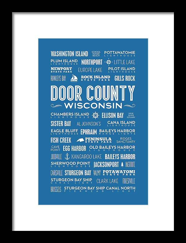 Door County Framed Print featuring the digital art Places Of Door County On Blue by Christopher Arndt