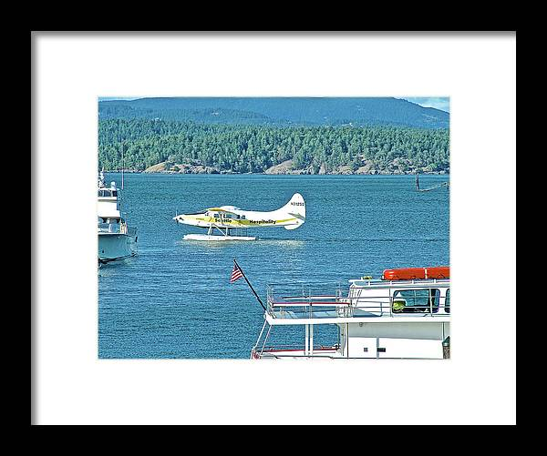 Plane Coming Into Friday Harbor On San Juan Island Framed Print featuring the photograph Plane Coming Into Friday Harbor On San Juan Island, Washington by Ruth Hager