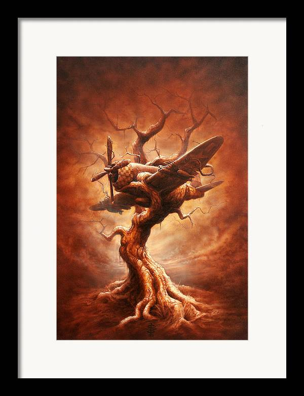 Abstract Framed Print featuring the painting Plane Old Tree by Victor Whitmill