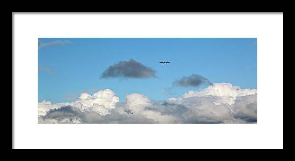 Plane: Preparing To Land Framed Print featuring the photograph Plane Up In The Clouds by Ann O Connell