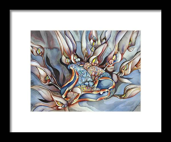 Sealife Framed Print featuring the painting Plant Life Below by Liduine Bekman