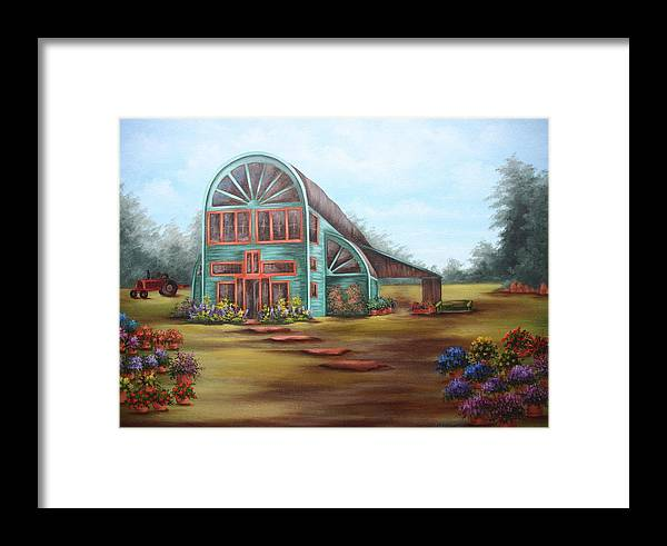 Greenhouse Framed Print featuring the painting Plants For Sale by Ruth Bares