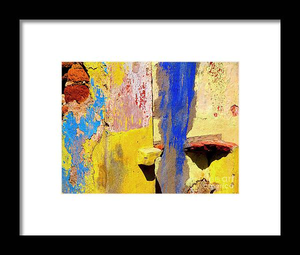 Olden Mexico Framed Print featuring the photograph Plaster Abstract 12 By Michael Fitzpatrick by Mexicolors Art Photography