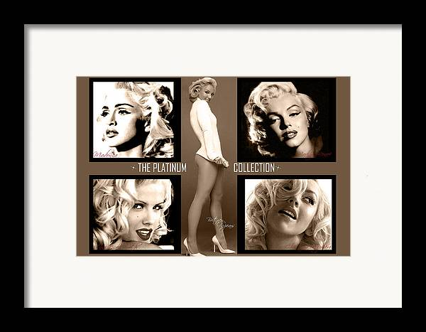 Marilyn Monroe Framed Print featuring the digital art Platinum Collection by Anibal Diaz