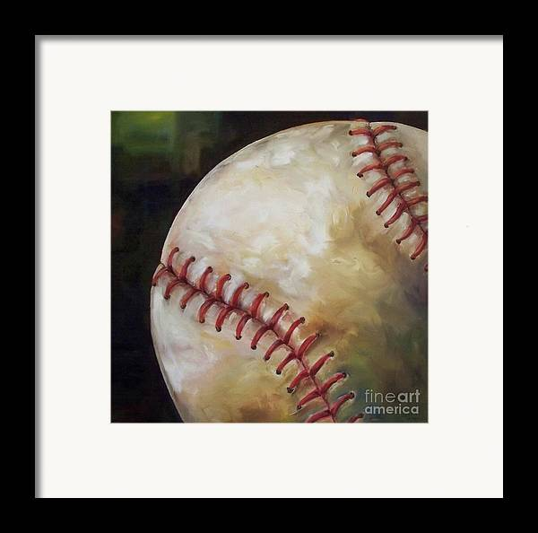 Baseball Framed Print featuring the painting Play Ball by Kristine Kainer