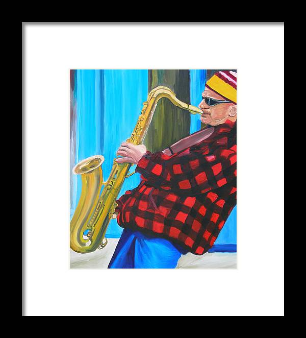 Sax Player Framed Print featuring the painting Play It Mr Sax Man by Michael Lee