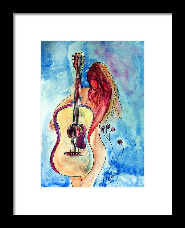 Guitar Framed Print featuring the painting Play Me A Song by Robin Monroe