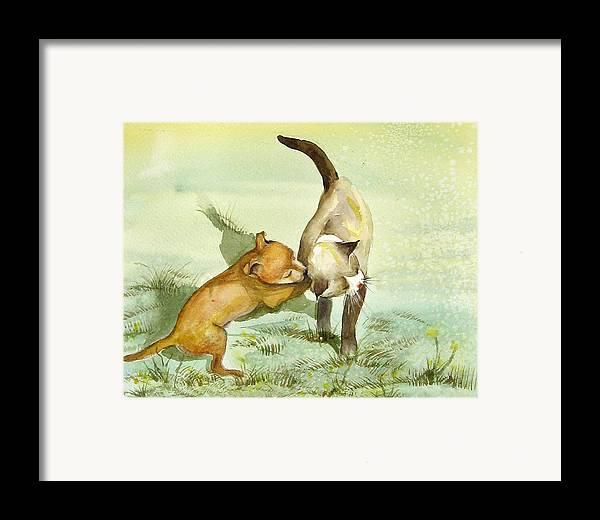Dog Framed Print featuring the painting Play Time by Gina Hall