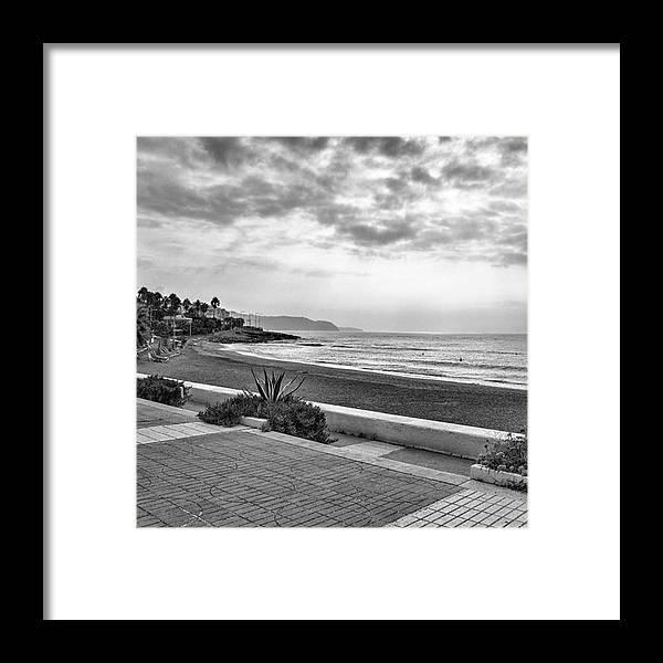 Monochromephotography Framed Print featuring the photograph Playa Burriana, Nerja by John Edwards