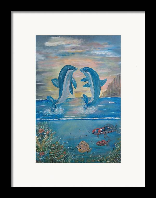 Original Framed Print featuring the painting Playful Dolphins by Mikki Alhart