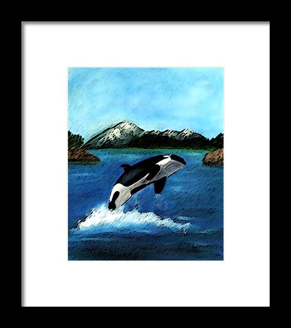 Orca Framed Print featuring the digital art Playful Orca by Mary Gaines