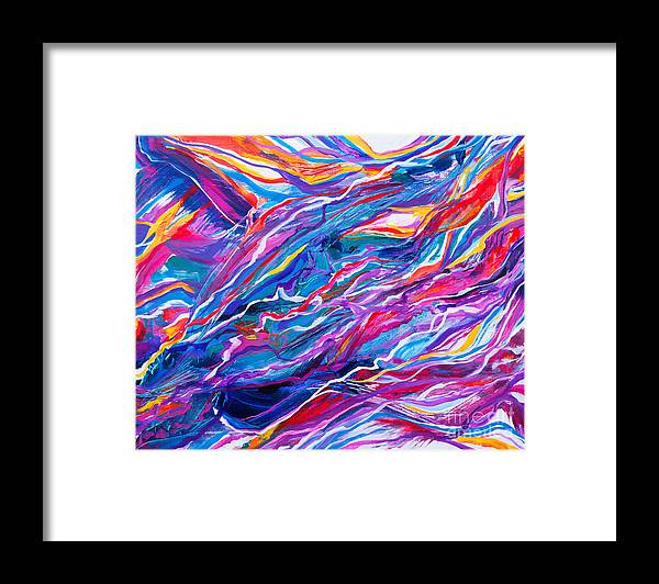 Filaments Lines Strokes Rushing Water Full Of Vibrant Color And Dynamic Movement Energy Contemporary Original Abstract Framed Print featuring the painting Playful stream by Priscilla Batzell Expressionist Art Studio Gallery