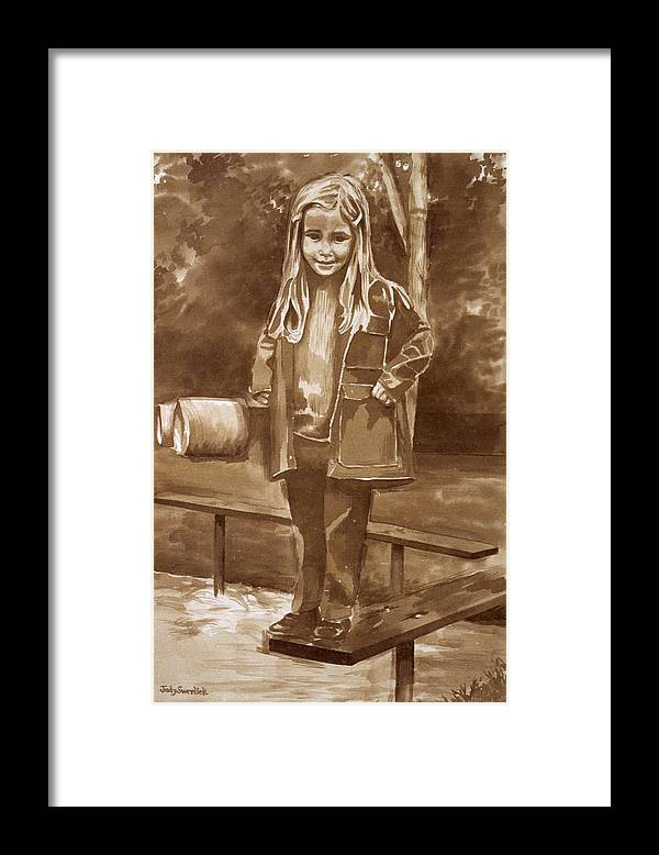 Little Girl On Bench In Park Framed Print featuring the painting Playground 2 by Judy Swerlick