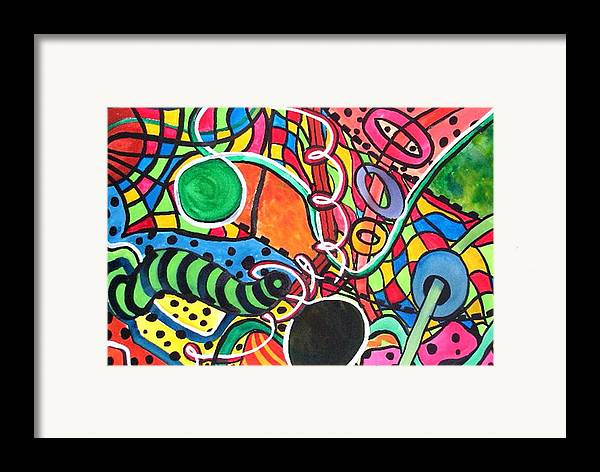 Abstract Framed Print featuring the painting Playground by Katina Cote