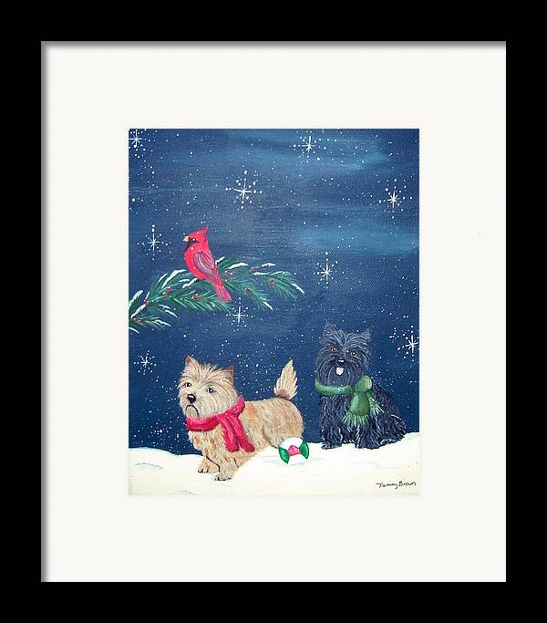 Cairn Terrier Framed Print featuring the painting Playin by Tammy Brown
