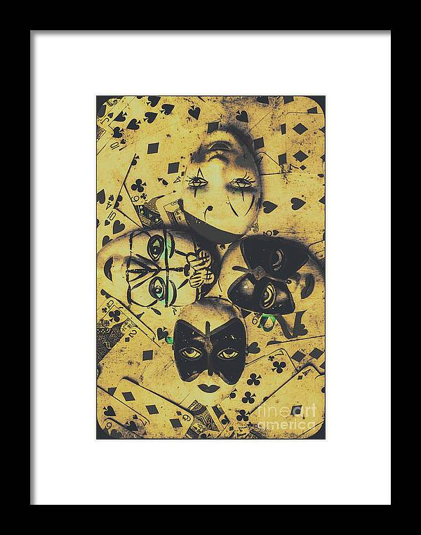 Playing Card Of A Vintage Masquerade Framed Print by Jorgo ...