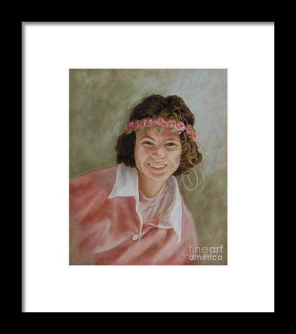 Portrait Framed Print featuring the pastel Playing Dress Up by Kathleen Keller